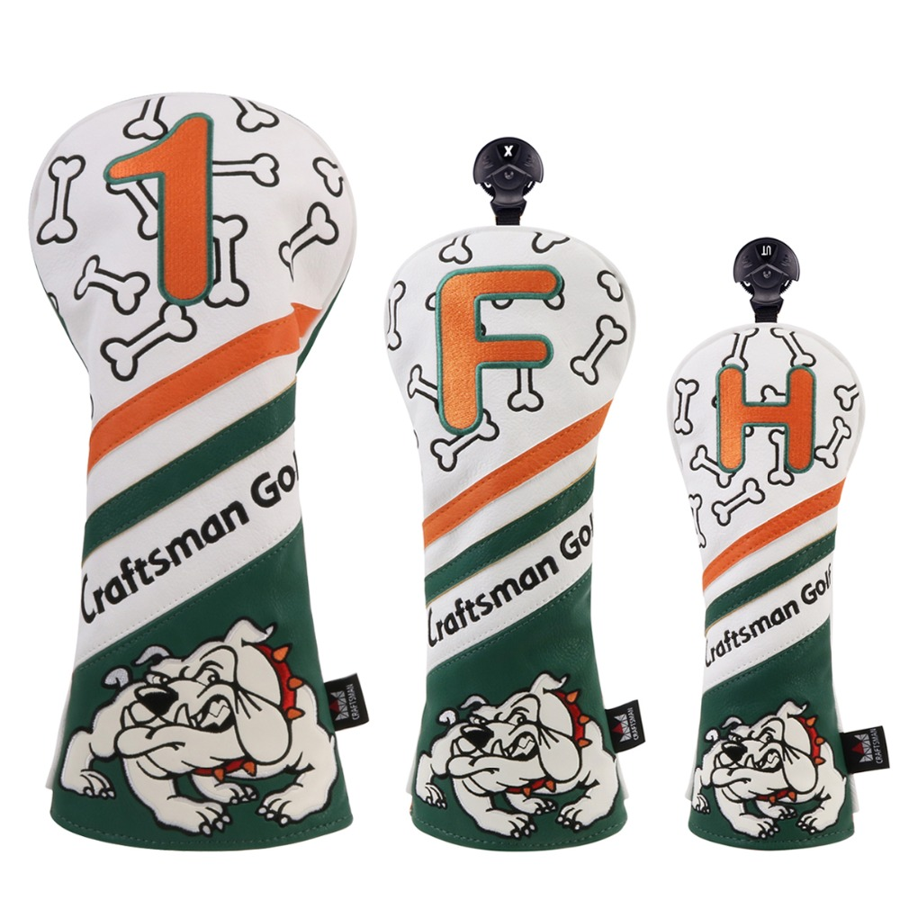 цена Craftsman Golf Wood Head Covers Headcover Bull Gog Driver / Fairway / Hybrid Driver FW UT Headcovers Free Shipping