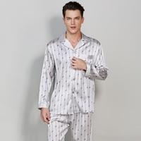 Men's Stain Silk Pajamas Set 2019 New plus size man 100%Silk Nightgown Men Satin Sleepwear Nightwear Sleepsuit Loungewear M XXL