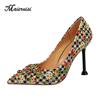 MAIERNISI Evening Party High Heels Women Shoes Sexy Woman Pumps Fashion Printing 9.5cm Stilettos All match Shopping Pumps
