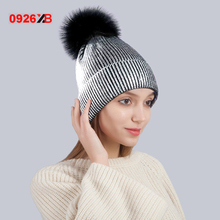 0926XB Gold And Silver With Caps Raccoon Fur Pompon Hat For Women Winter Knitting Warm Hats Female Skullies Beanies XB-A435+
