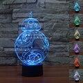 NUEVO USB de Star Wars BB-8 3D Lámpara de Mesa Luminaria Led de La Noche Interruptor Remoto de iluminación Decorativa Lámpara de estado de Ánimo gran regalo para los niños