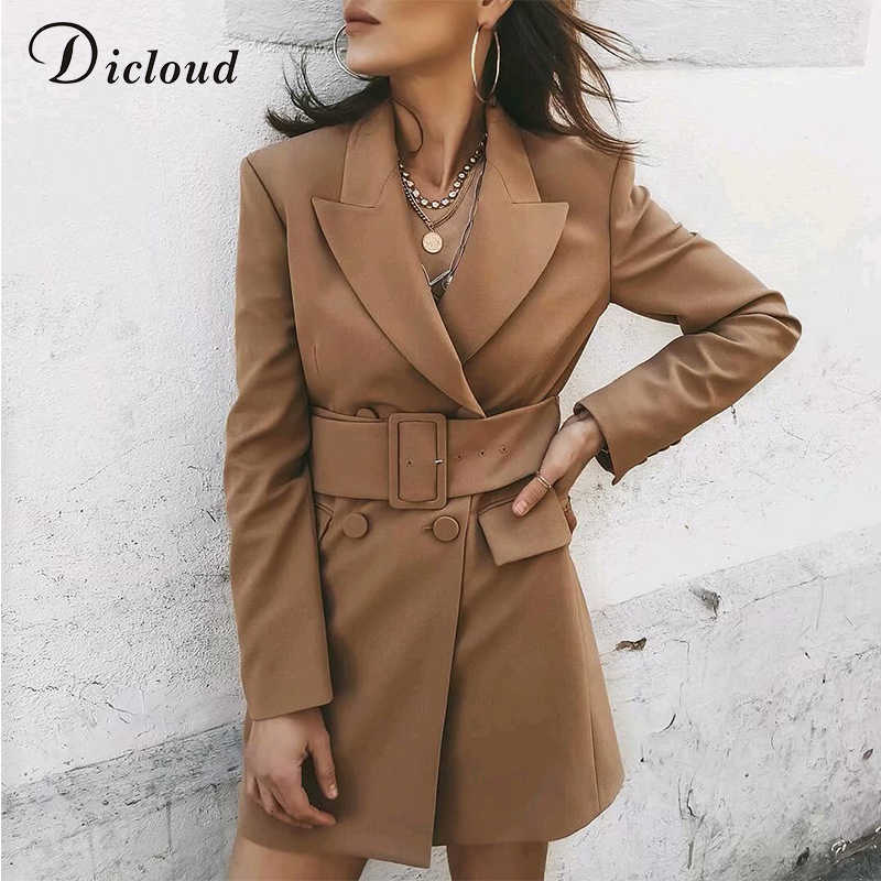 DICLOUD Элегантный пиджак платье цвета хаки Женская мода 2019 осень офис леди с длинным рукавом куртки с поясом платье линии уличной Стритстайл
