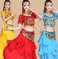 2016 traje de dança do ventre traje indiano de bollywood conjuntos dress dress womens dança do ventre traje de dança do ventre saia tribal 4 pcs/1 conjunto