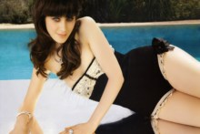 Home decoration Zooey Deschanel actress celebrities swimwear legs women females girls babes sexy Silk Fabric Poster Print RW285