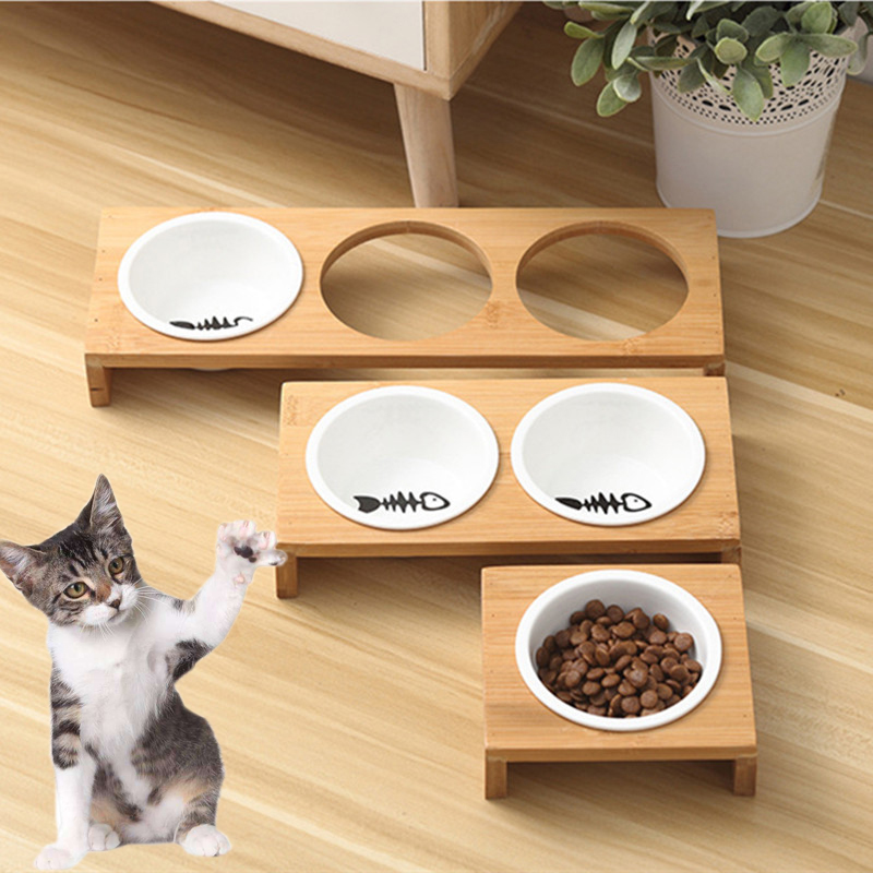 Cat Bowl Petl Dogs Stand Ceramics Bowls Cats Dog Food Water Bowl Bamboo Elevated Pet Feeders Puppy Bowl Cat