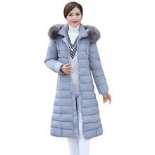2016 6XL Plus Size Winter Women Parka Hooded Warm Wadded Jacket Fur Collar Down Coat Thick Long Outwear Mother Coat  AA309