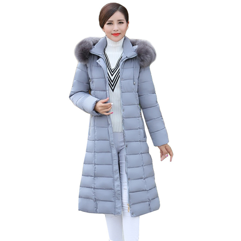 2017 6XL Plus Size Winter Women Parka Hooded Warm Wadded Jacket Fur Collar Coat Thick Long Outwear Mother Coat  AA309 women winter coat jacket women warm thick parka fox fur collar outwear fashion luxury big size 5xl x long slim solid snowclassic