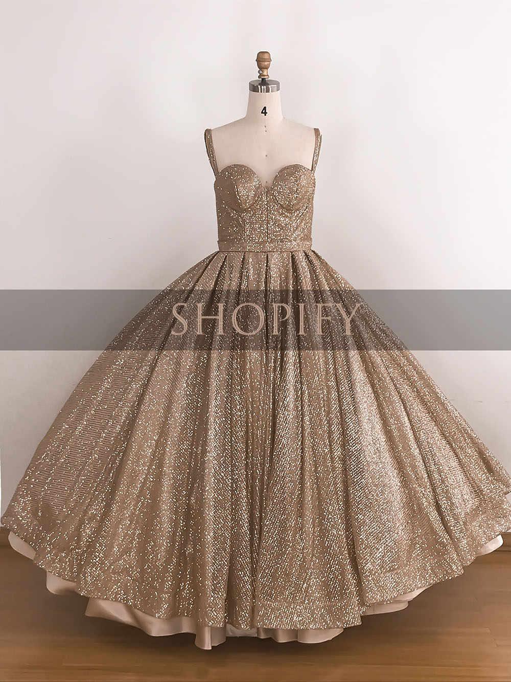 8b082932fa Long Glitter Lebanon Arabic Style Evening Dresses 2019 Ball Gown Puffy  Swwetheart Sparkly Formal Women Gowns abendkleider