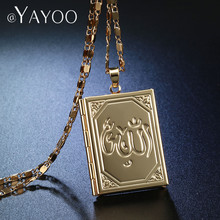 AYAYOO Pendant Necklaces Locket Necklace Islamic Allah Necklaces Pendants Gold/Silver Color Religious Muslim Jewelry Necklace(China)