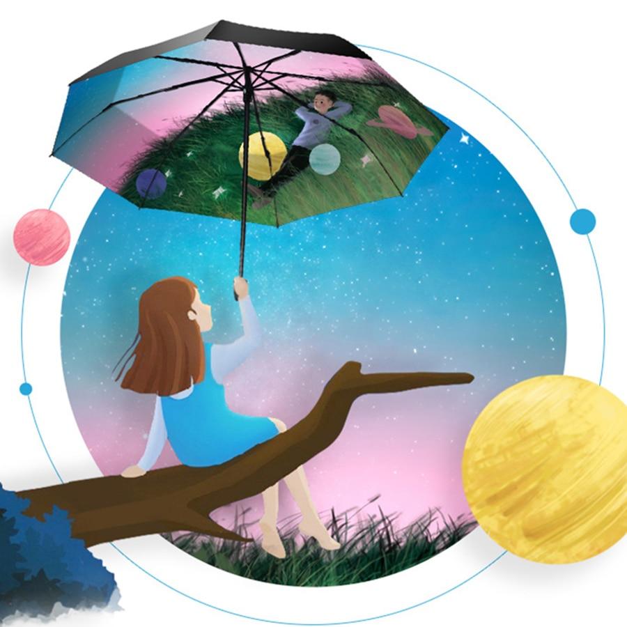 Parapluie de pluie pliant soleil femmes UV fille changement de couleur nouveauté articles parapluies magiques mâle enfants peinture Parasol cadeaux 40S188 - 5