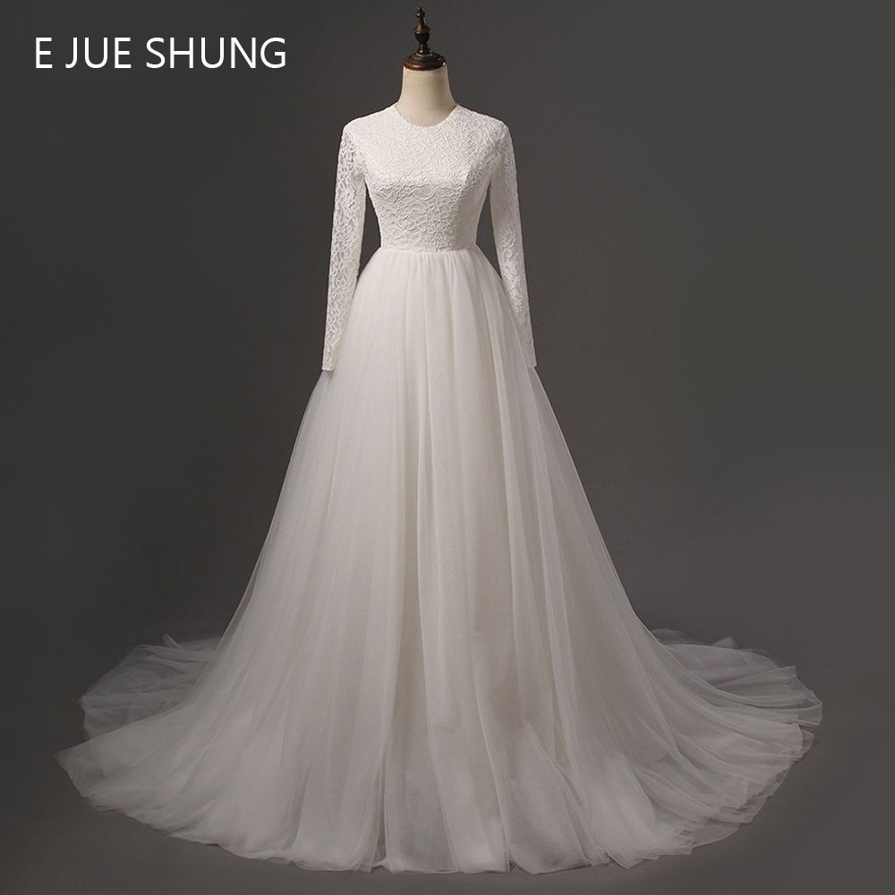 E JUE SHUNG White Vintage Lace Long Sleeves Cheap Wedding Dresses 2017 A-line Wedding Gowns robe de soiree hochzeitskleid
