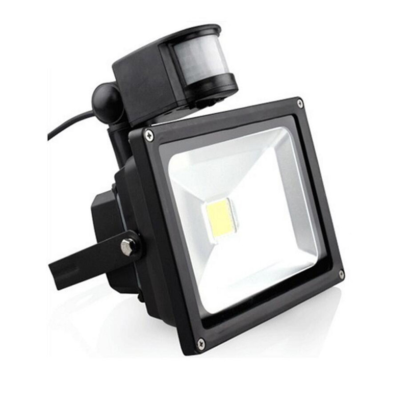 Led Flood Lights Sensor White Reflector 220V Outdoor Exterior Lighting Waterproof Garden