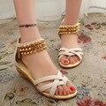 Sandalias de las mujeres de Moda Cremallera Zapatos Planos Del Verano Zapatos Casuales Sandalias de Las Señoras