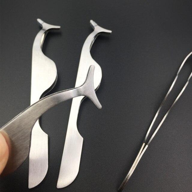 Stainless Steel Eyelash Extension Tweezers Eyebrow Hair Removal Tweezers Pince A Epiler 5