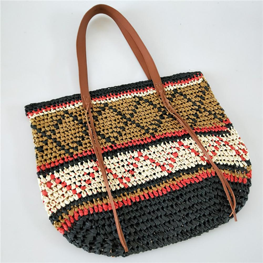 Geometric Pattern Straw Beach Bag Travel Vacation Shoulder Bag Fashion Handbag Handmade Woven Totes High Capacity Bags For Women handmade geometric woven sandal anklets