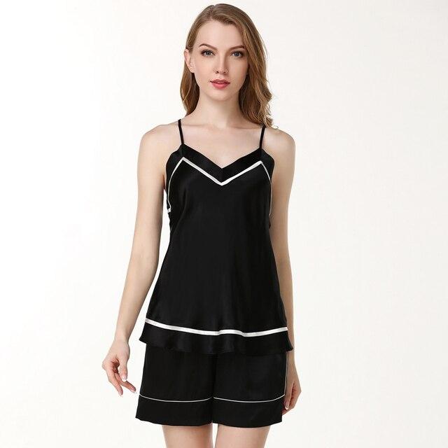 women's 100% silk satin pajamas sets shorts2019 woman sleeveless silk pyjamas sets V-neck silk pijamas sets blackTwo Piece Set