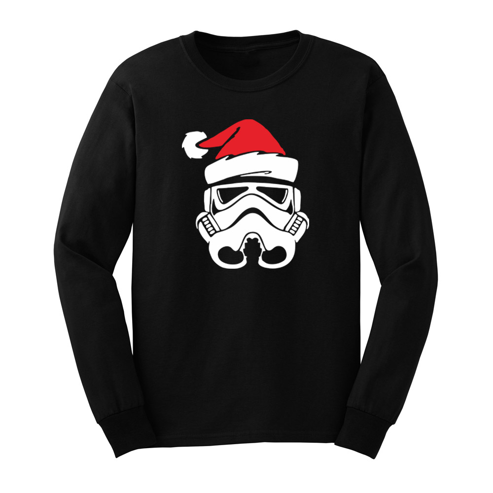 Mens Star Wars Santa Hat Funny Graphic Christmas Gift Long Sleeve T Shirts Casual Men Tee