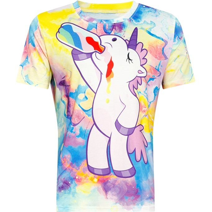 T-shirt for Women 2018 Summer Short Sleeve Galaxy Unicorn Drink Rainbow Pattern 3D Printed Tee Tops Cartoon T Shirt Cute Tshirt