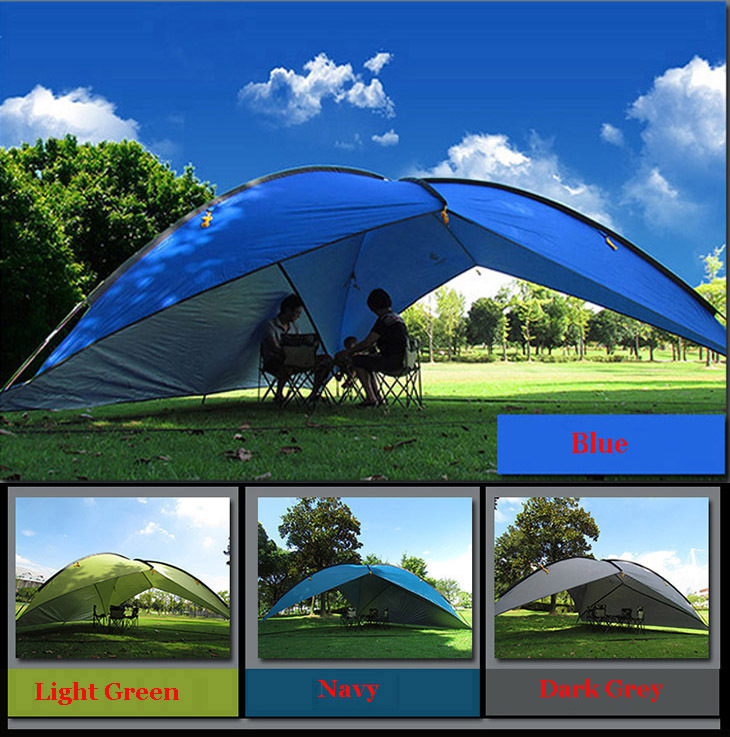 1wall/2walls/3Walls!Awning tent ultralarge sun-shading tentorial beach tent/anti-uv marquee account/large flysheet silver coated