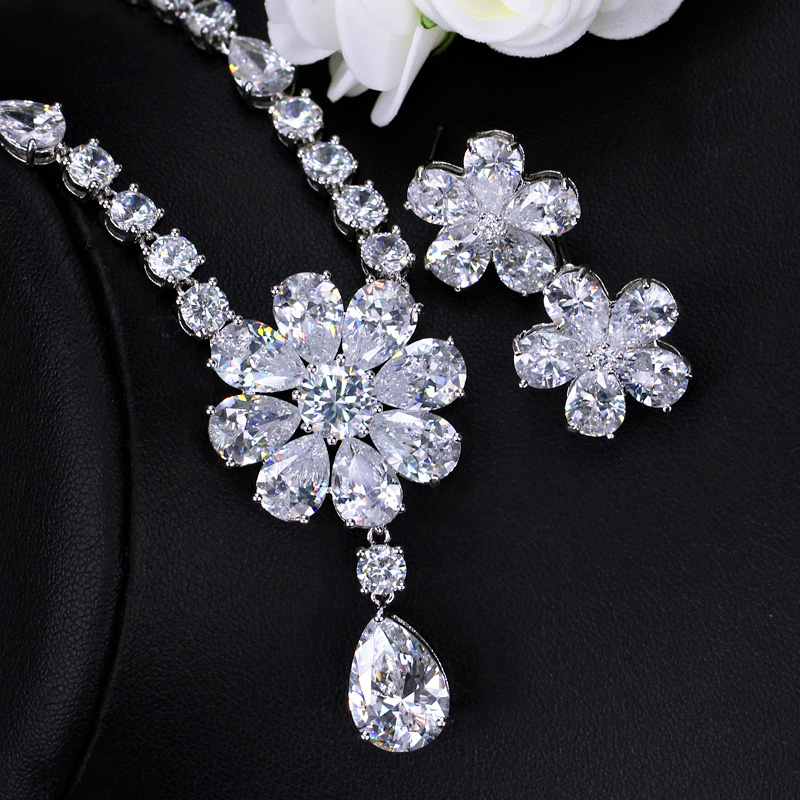 Image 3 - CWWZircons High Quality Bridal Wedding Party Jewelry Dazzling White Cubic Zirconia Flower Necklace Earrings Sets For Women T300Bridal Jewelry Sets   -