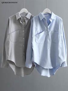 Women Shirts Blouse Spring Ladies Tops Long-Sleeve Autumn Plus-Size High-Design Kawaii