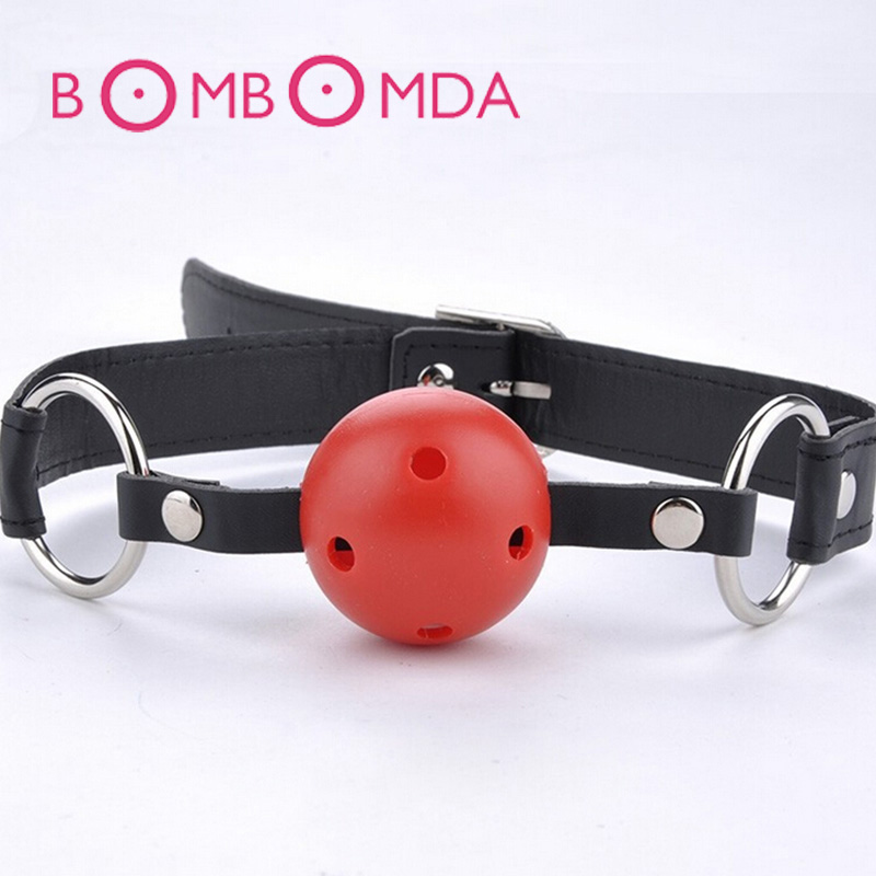1PC Oral Fixation Mouth Stuffed Adult Games For Couples Flirting Products Toys PU Leather Band Ball Mouth Gag image