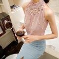 2016 Novos Chegada de Moda Plus Size Mulheres Beading Chiffon Blusa Sem Mangas Mulheres Gola Chiffon Camisa Blusa Mulheres Tops