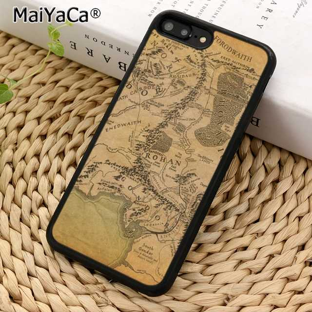 Lord Of The Rings MaiYaCa Middle Earth Mapa Caso de Telefone Capa para iPhone 5 5S 6 6 s 7 8 X XR XS max samsung galaxy S6 S7 S8 S9 Plus