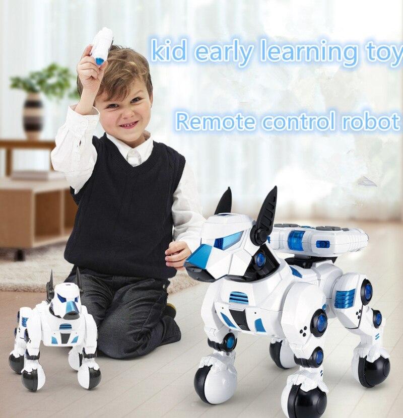 Intelligent RC Robot chien 2.4G télécommande sans fil chien Intelligent électronique animaux de compagnie enfants jouet enfant apprentissage jouet flash mouvement parler jouet