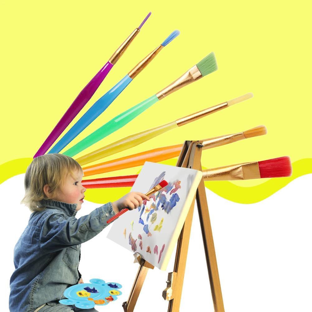 6 PCS/lot Washable Child Kids Handle Paint Brush Set for Children kindergarten Colorful Drawing Toy - 32904888738