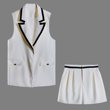 HIGH STREET New Fashion 2019 Stylish Designer Runway Suit Set Women's Sleeveless Notched Vest Shorts SET