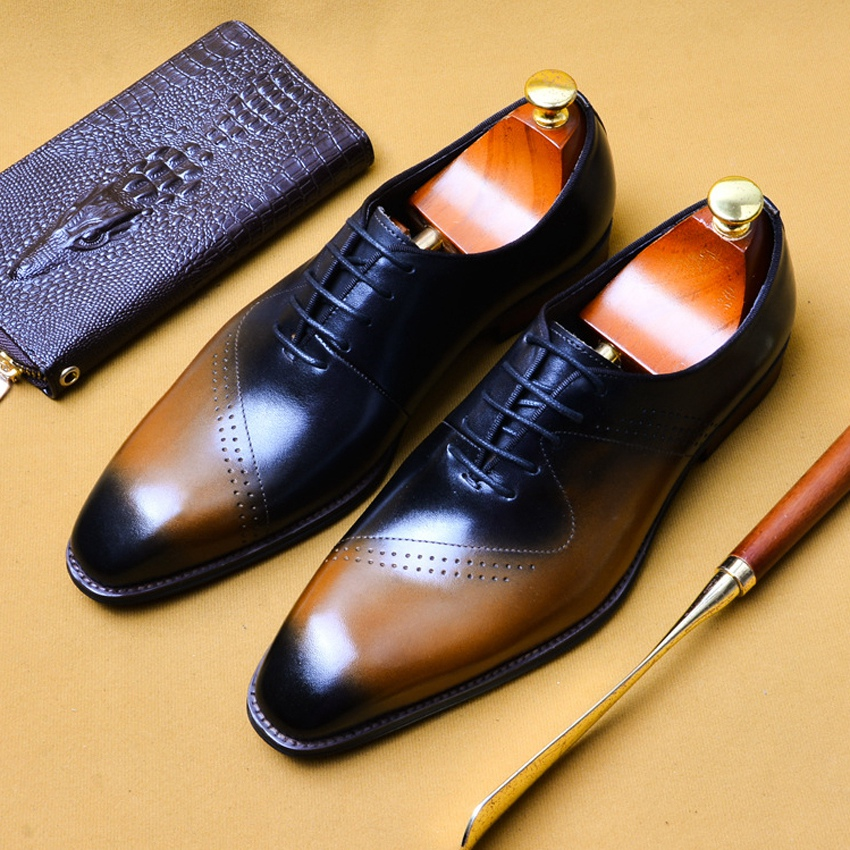 Summer Design Genuine Leather Formal Dress Breathable Brogue Shoes Square Toe Handmade Mens Retro Wedding Party Oxfords AS115Summer Design Genuine Leather Formal Dress Breathable Brogue Shoes Square Toe Handmade Mens Retro Wedding Party Oxfords AS115