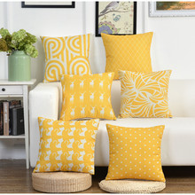 Yellow Background Deer Pattern Cushion Cover Cotton Linen Decorative Throw Pillow Cover Seat Sofa Embrace Pillow Case Home Decor cloud and balls pattern decorative throw pillow case