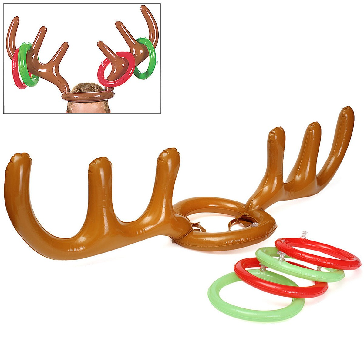 1 Set Inflatable Toys Reindeer Antler Ring Toss Luau Tropical Beach Pool Party Game Outdoor Funny Game Toys Christmas Kid Gift