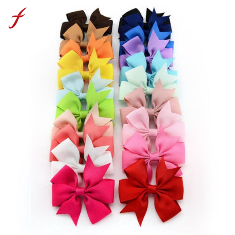 20PCS Girl Bow Hair Clip Grosgrain Ribbon Boutique Bowknot Hairpin Kids Hair Accessories Tiara Infantil 7 pairs lot promotion hairpin hairclip headwear girl hair accessories kids hair clip girl christmas gift