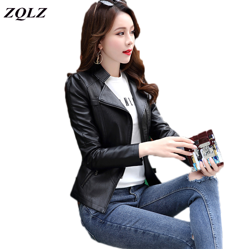 ZQLZ 2018 Black Motorcycle Faux   Leather   Jacket Women Mandarin Collar Long Sleeve Zipper Spring Autumn Bomber Jackets Coat