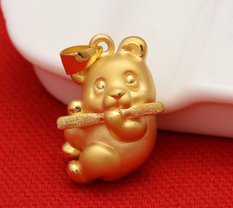 Pendentif authentique en or jaune 24 K/pendentif Panda chanceux 3D