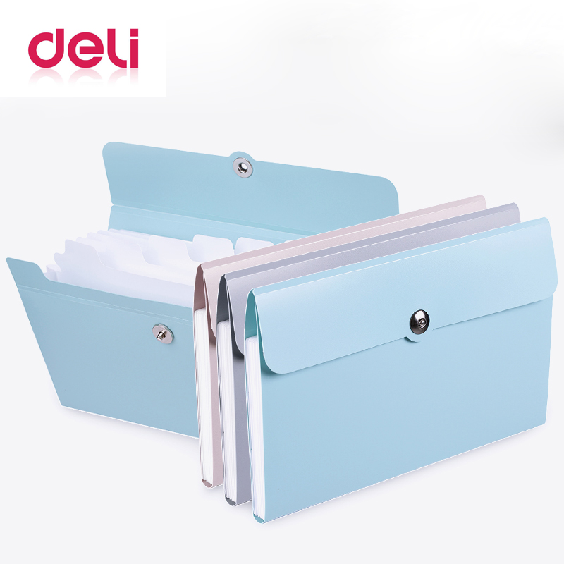 Deli 1pcs File Folder Organ Bag A5 Organizer Box Paper Holder Document Folder Multi-function Storage Finishing Office Supplies(China)
