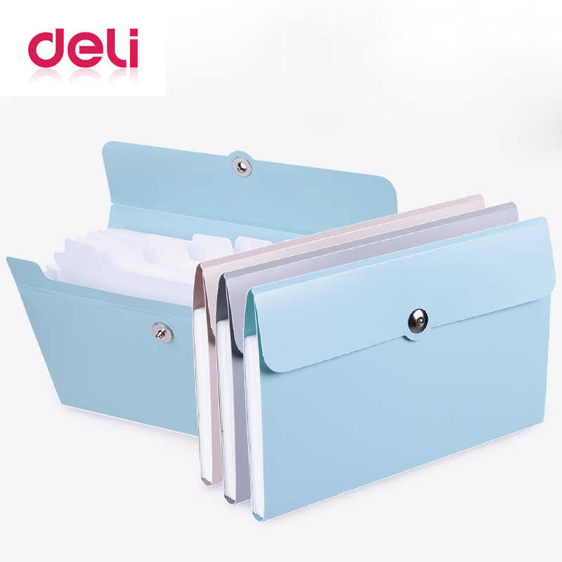 Deli 1pcs File Folder Organ Bag A5 Organizer box Paper Holder Document Folder multi-function storage finishing Office Supplies