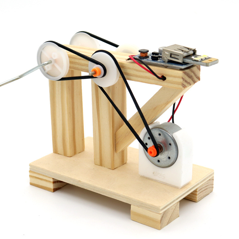 DIY Dynamo Generator Model Wood Invention Science Experiment Toys Assemble Material Kits Children Creative Educational wallet