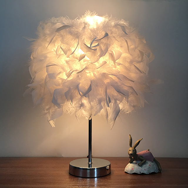 US $21.63 |Feather Shade Metal Table Lamp 220V Bedside Desk Vintage Night  Light Christmas Decor Soft Vintage Bedroom Study Room White-in Table Lamps  ...