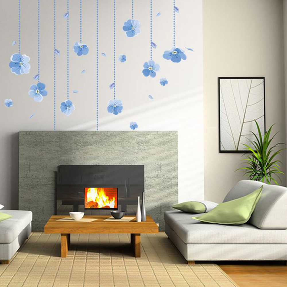 Blue Flowers Wall Sticker Decal Home Paper Picture DIY Mural kid ...