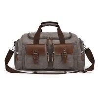 DANJUE Canvas Shoulder Bag Men casual Sport Travel Duffle Mens Solid Khaki Large Luggage Bag Ladies Black Handbag