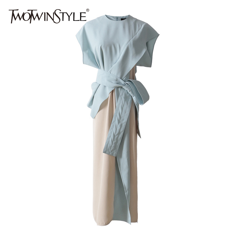 TWOTWINSTYLE Patchwork Long Dress Womens Batwing Sleeve Belt High Waist Ruffles Irregular Dresses Summer 2019 Fashion