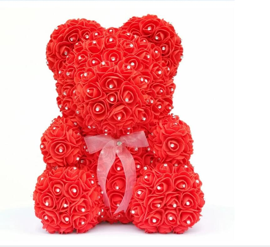 Image 3 - 2020 Diamond rose bear with heart artificial roses foam roses flower Diamonds  bear rose Valentine's Day gifts Mother's Day-in Artificial & Dried Flowers from Home & Garden