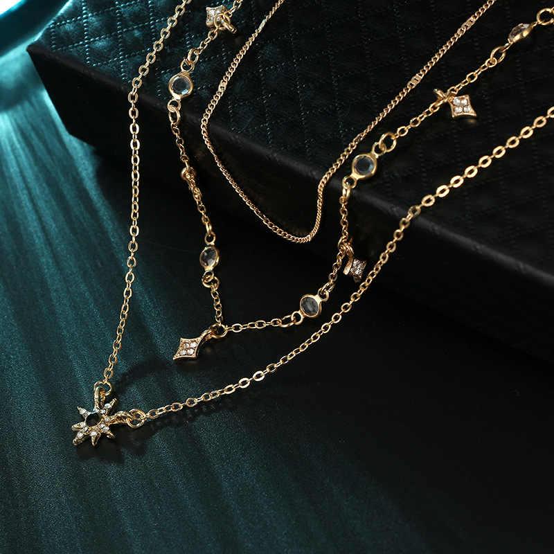 Cor de ouro Gargantilha Colar Curto mulher estrelas de cristal Pingente Cadeia Colares & Pingentes Laços gargantilhas de veludo Moda Jóias D40