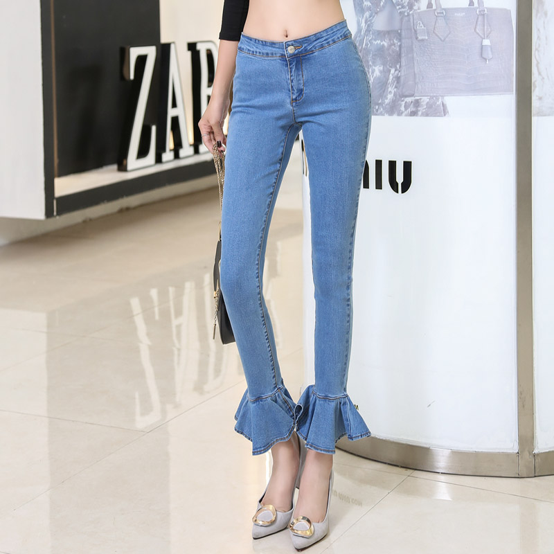 ФОТО Korean Fashion High Street Style Female Retro Jeans Women Sexy Flounce Stitching Trousers AD9534