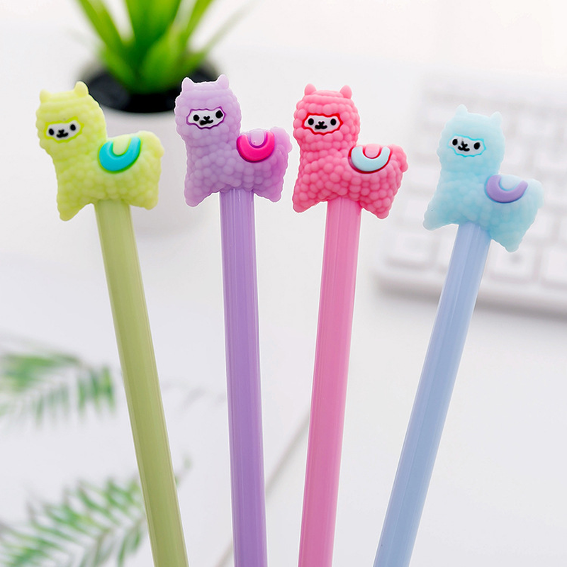 1 Pcs Cartoon Cute Alpaca Gel Pen Escolar Papelaria 0.38mm Student Signature Writing Pens For Kids Gift Kawaii School Stationery