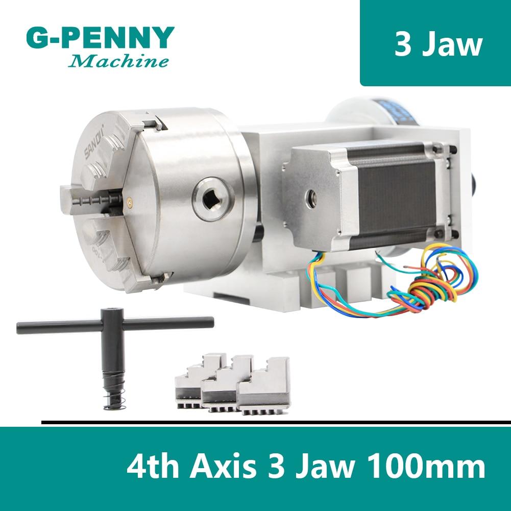 3 Jaw 100mm chuck CNC 4th Axis CNC dividing head Rotation 6 1 A axis for