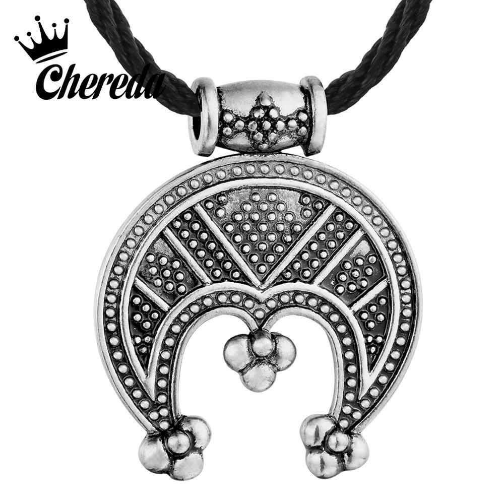 Chereda Tricorn Lunula Female Necklaces Protective Amulet Men Rope Chain Necklace Crescent Viking Pendant